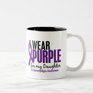I Wear Purple For My Daughter 10 Fibromyalgia Two-Tone Coffee Mug