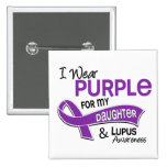 I Wear Purple For My Daughter 42 Lupus 2 Inch Square Button