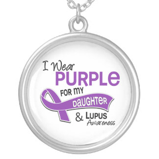 I Wear Purple For My Daughter 42 Lupus Silver Plated Necklace