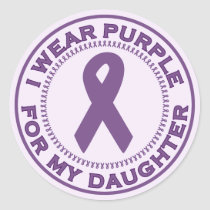 I Wear Purple For My Daughter Classic Round Sticker