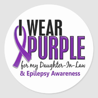 I Wear Purple For My Daughter-In-Law 10 Epilepsy Classic Round Sticker