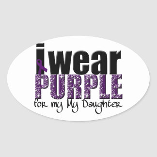 I Wear Purple For My Daughter Oval Sticker