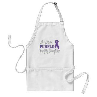 I Wear Purple For My Daughter (Purple Ribbon) Adult Apron