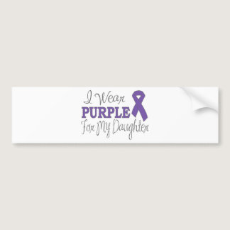 I Wear Purple For My Daughter (Purple Ribbon) Bumper Sticker