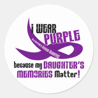 I Wear Purple For My Daughter's Memories 33 Classic Round Sticker