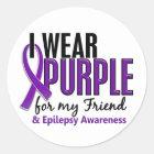 I Wear Purple For My Friend 10 Epilepsy Classic Round Sticker