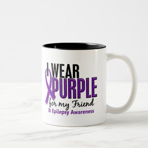 I Wear Purple For My Friend 10 Epilepsy Two-Tone Coffee Mug
