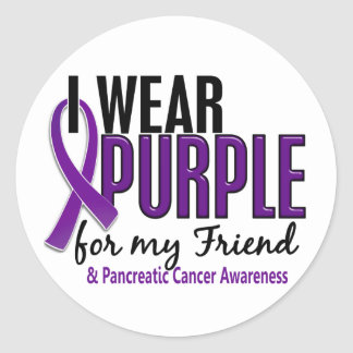 I Wear Purple For My Friend 10 Pancreatic Cancer Classic Round Sticker
