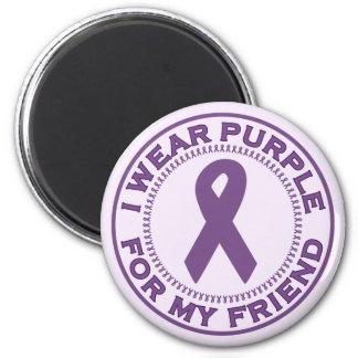 I Wear Purple For My Friend 2 Inch Round Magnet