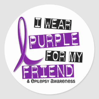 I Wear Purple For My Friend 37 Epilepsy Classic Round Sticker