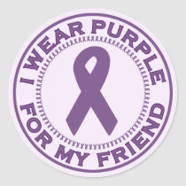I Wear Purple For My Friend Classic Round Sticker
