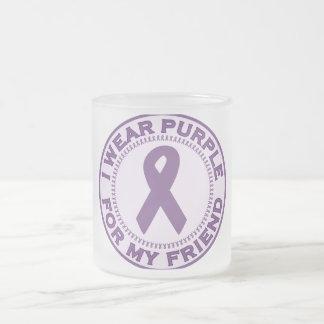 I Wear Purple For My Friend Frosted Glass Coffee Mug