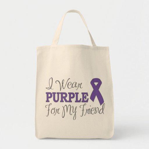I Wear Purple For My Friend (Purple Ribbon) Grocery Tote Bag