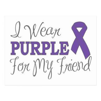 I Wear Purple For My Friend (Purple Ribbon) Postcard