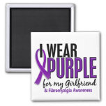I Wear Purple For My Girlfriend 10 Fibromyalgia 2 Inch Square Magnet