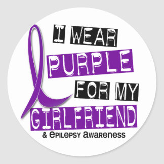 I Wear Purple For My Girlfriend 37 Epilepsy Classic Round Sticker