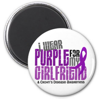 I Wear Purple For My Girlfriend 6 Crohn's Disease 2 Inch Round Magnet