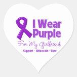 I Wear Purple For My Girlfriend Heart Sticker