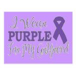 I Wear Purple For My Girlfriend (Purple Ribbon) Postcard