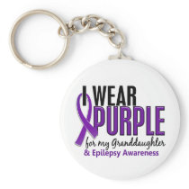 I Wear Purple For My Granddaughter 10 Epilepsy Keychain