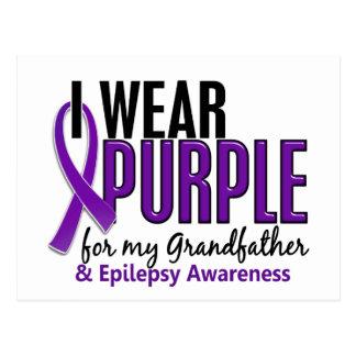 I Wear Purple For My Grandfather 10 Epilepsy Postcard