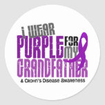 I Wear Purple For My Grandfather 6 Crohn's Disease Round Stickers