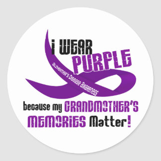 I Wear Purple For My Grandmother's Memories 33 Classic Round Sticker
