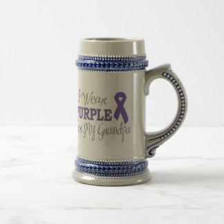 I Wear Purple For My Grandpa (Purple Ribbon) Beer Stein