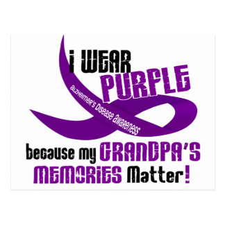 I Wear Purple For My Grandpa's Memories 33 Postcard