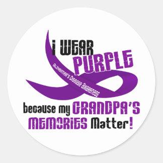 I Wear Purple For My Grandpa's Memories 33 Classic Round Sticker