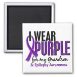 I Wear Purple For My Grandson 10 Epilepsy 2 Inch Square Magnet