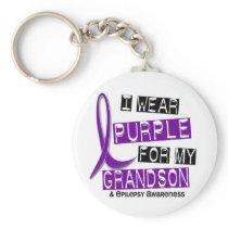 I Wear Purple For My Grandson 37 Epilepsy Keychain