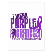 I Wear Purple For My Grandson 6.4 Cystic Fibrosis Postcard