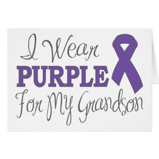 I Wear Purple For My Grandson (Purple Ribbon) Greeting Card