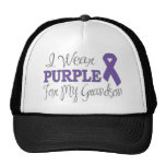 I Wear Purple For My Grandson (Purple Ribbon) Mesh Hat