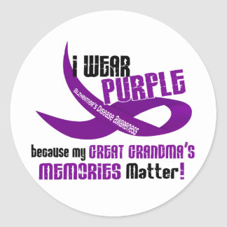I Wear Purple For My Great Grandma's Memories 33 Classic Round Sticker
