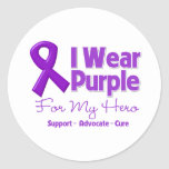 I Wear Purple For My Hero Round Stickers