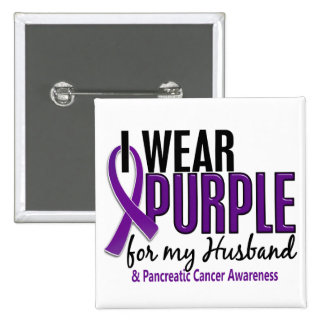 I Wear Purple For My Husband 10 Pancreatic Cancer 2 Inch Square Button