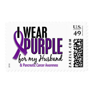 I Wear Purple For My Husband 10 Pancreatic Cancer Postage Stamps