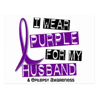 I Wear Purple For My Husband 37 Epilepsy Postcard