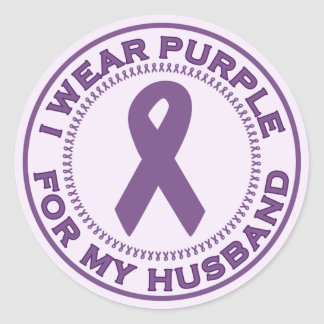 I Wear Purple For My Husband Classic Round Sticker