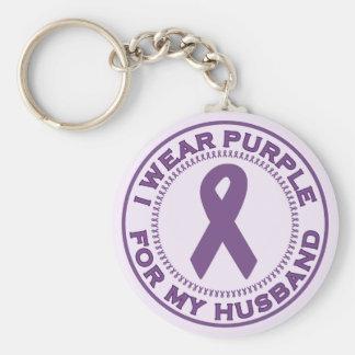 I Wear Purple For My Husband Keychain
