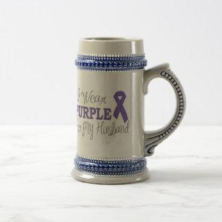 I Wear Purple For My Husband (Purple Ribbon) Beer Stein