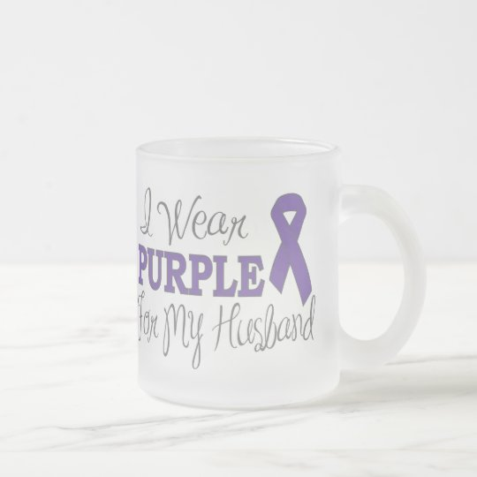 I Wear Purple For My Husband (Purple Ribbon) Frosted Glass Coffee Mug