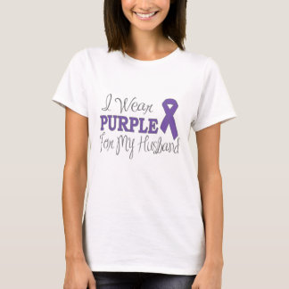 I Wear Purple For My Husband (Purple Ribbon) T-Shirt