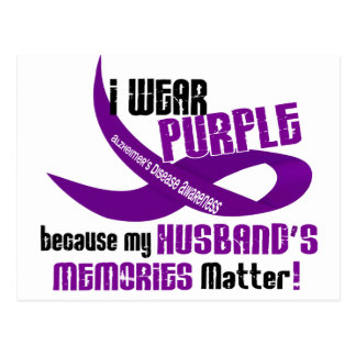 I Wear Purple For My Husband's Memories 33 Postcard