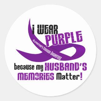 I Wear Purple For My Husband's Memories 33 Classic Round Sticker