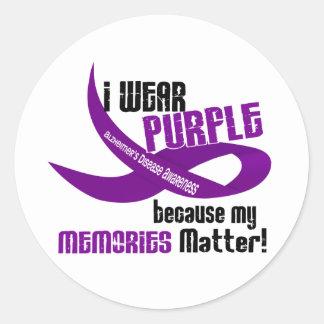 I Wear Purple For My Memories 33 Classic Round Sticker