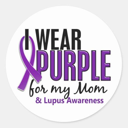 I Wear Purple For My Mom 10 Lupus Classic Round Sticker