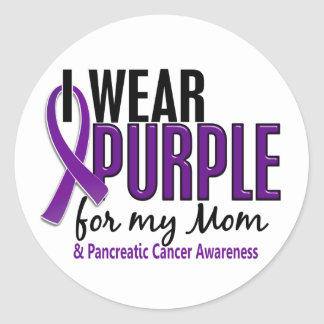 I Wear Purple For My Mom 10 Pancreatic Cancer Classic Round Sticker